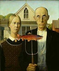 """""""American Gothic"""" painting with fish stuck on pitchfork"""