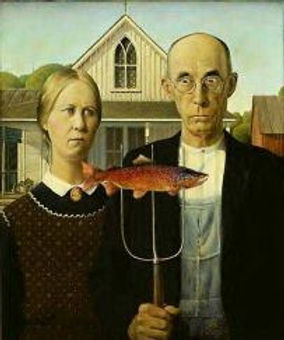 "Grant Wood's ""American Gothic"" paintig with added fish"