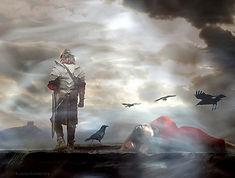 Dreamlike image with knight walking away from sleeping woman, birds