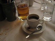 Coffee cup and beer