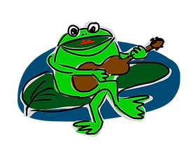 Happy frog paying guitar