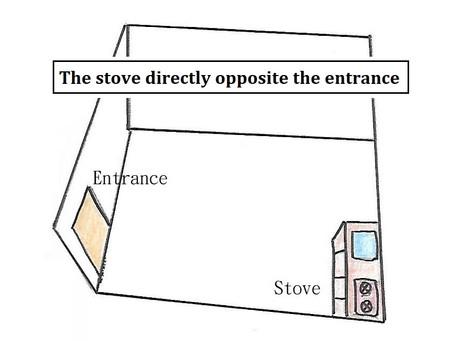 開門見灶 The stove directly opposite the entrance.