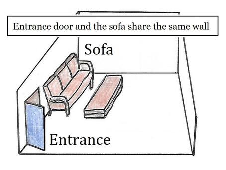 背靠門 Entrance door and the sofa share the same wall.