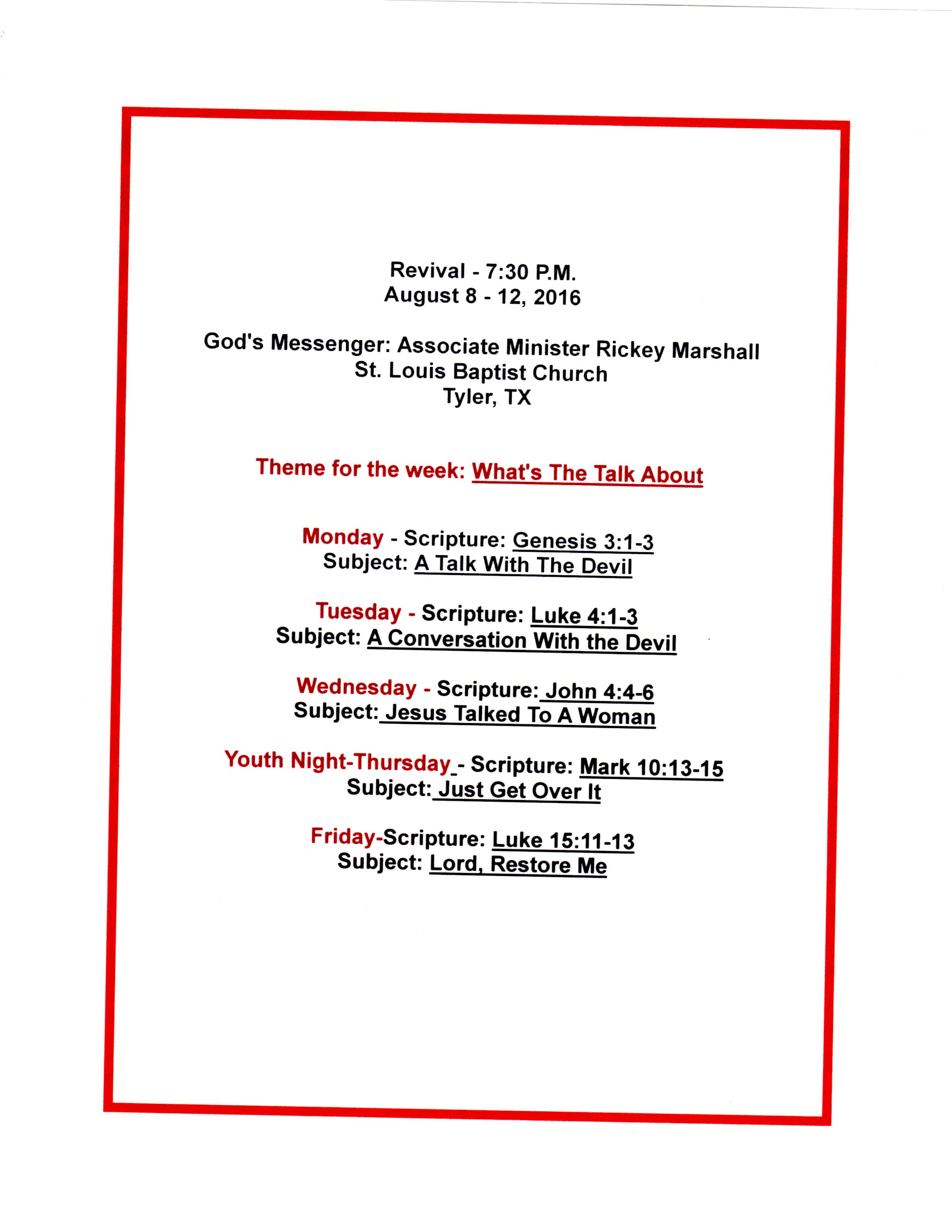 List of Rev. Rickey Marshall's Revival Sermons 8-8-12-2016