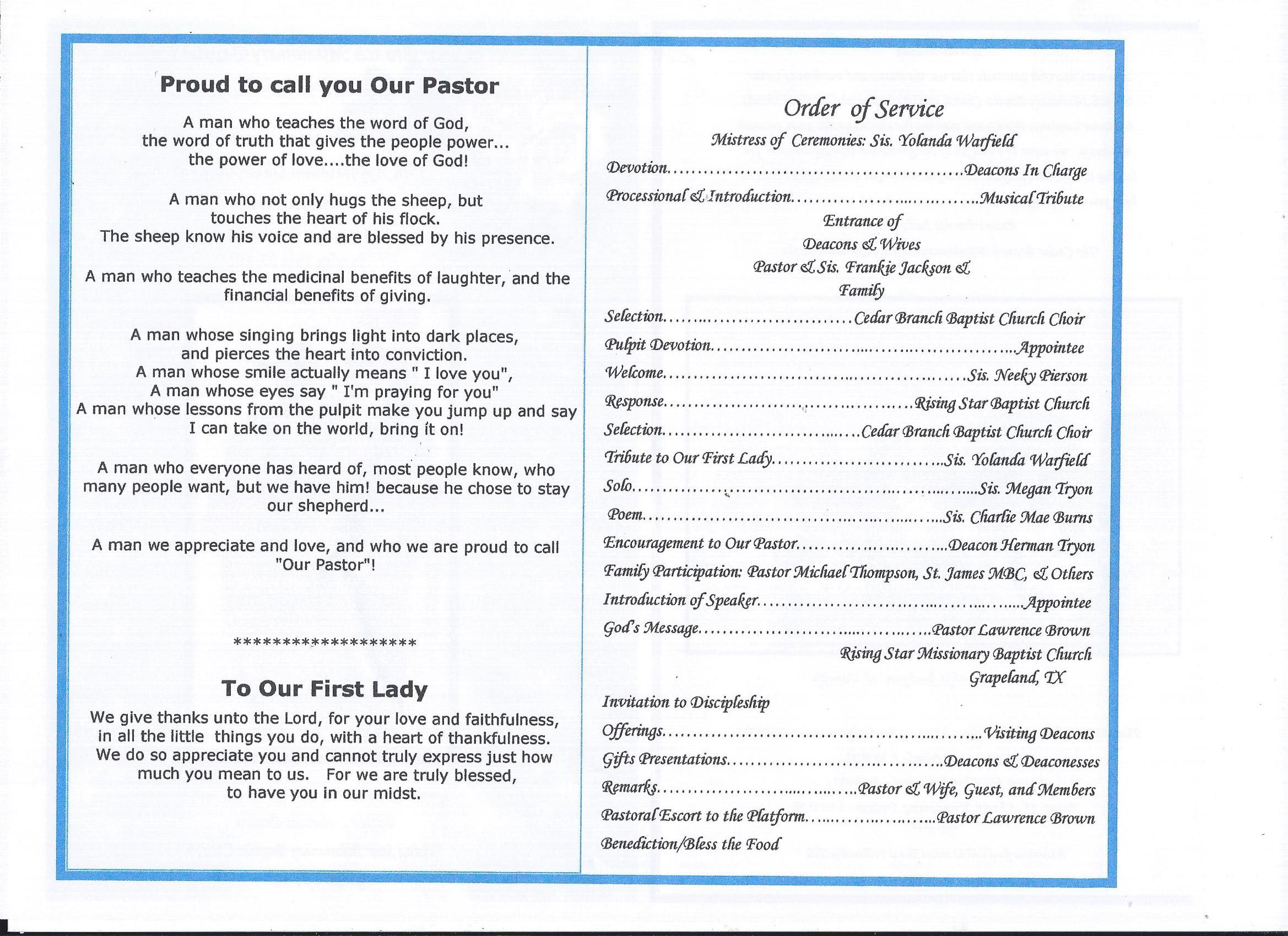 Pastor & Wife's 15  Anniversary 6-25-2017