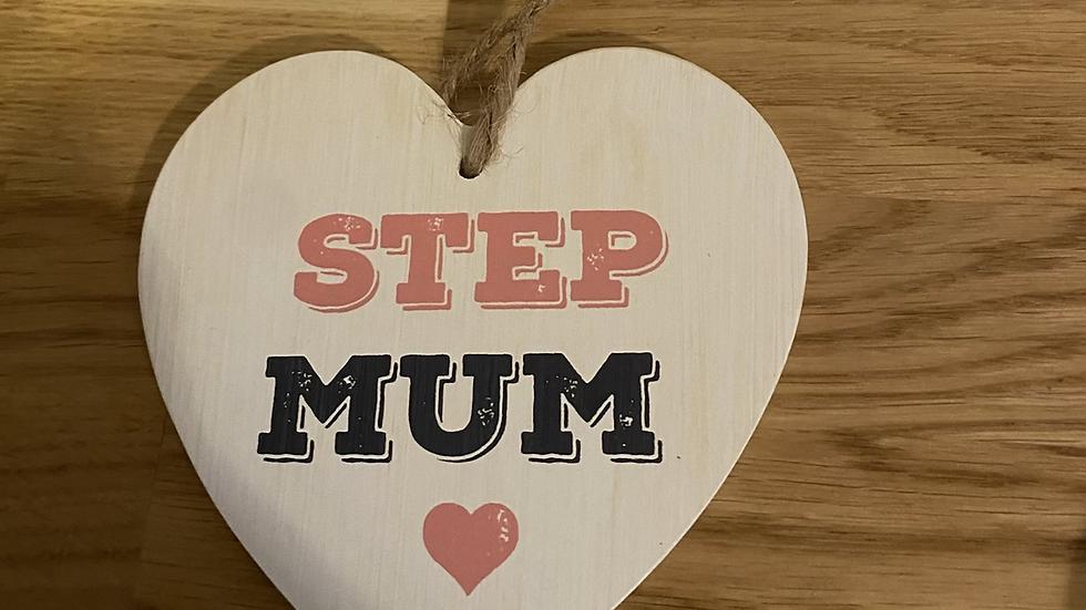 Step Mum Wooden Heart