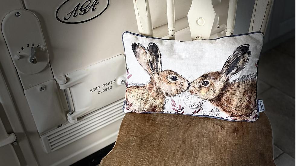 Kissing Hare Cushion
