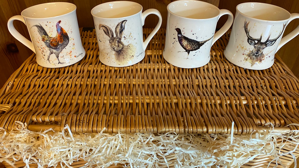 Set of four assorted 'Country theme' Mugs