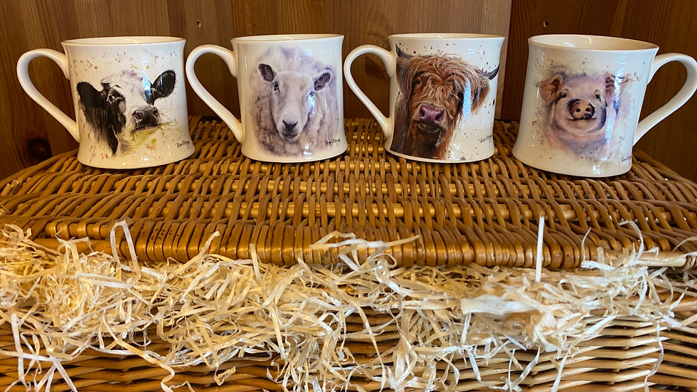 Set of four assorted 'Farm theme' mugs
