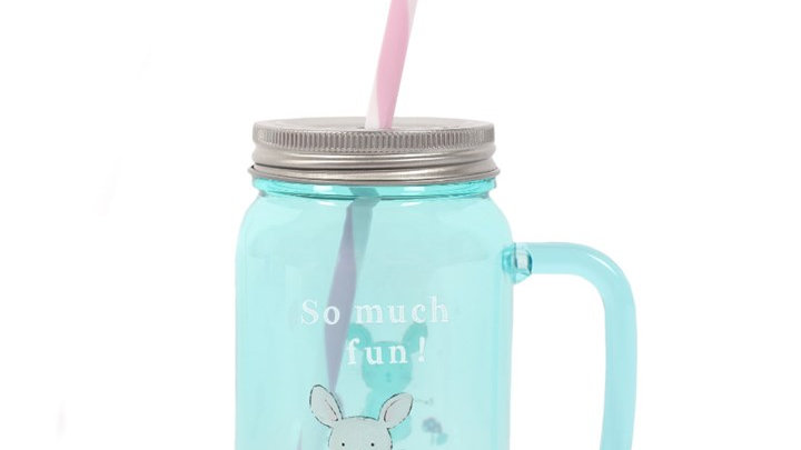Children's Mouse Theme Plastic Drinking Jar with Straw