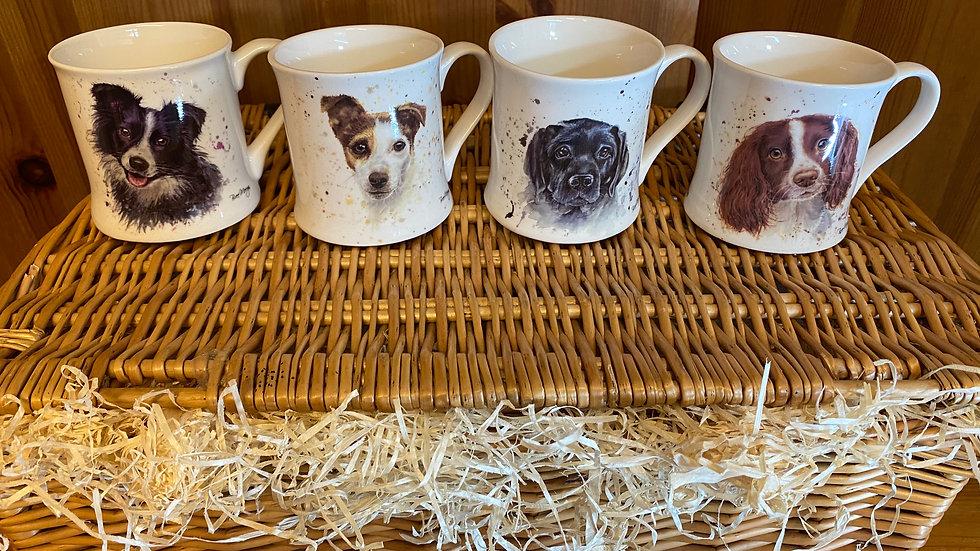 Set of four assorted 'Dog theme' Mugs