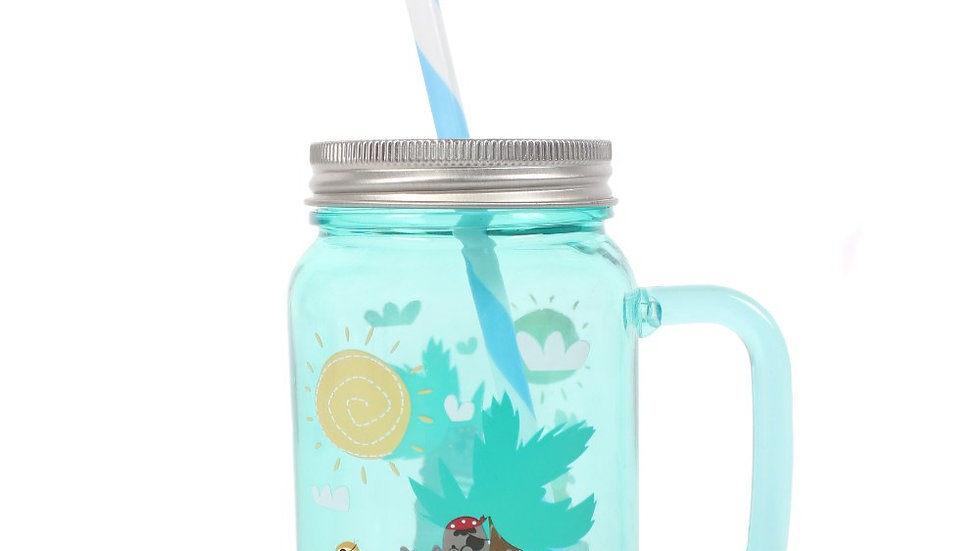 Children's Pirate theme plastic drinking Jar with straw