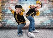 Two brothers dancing break dance.Hip-hop