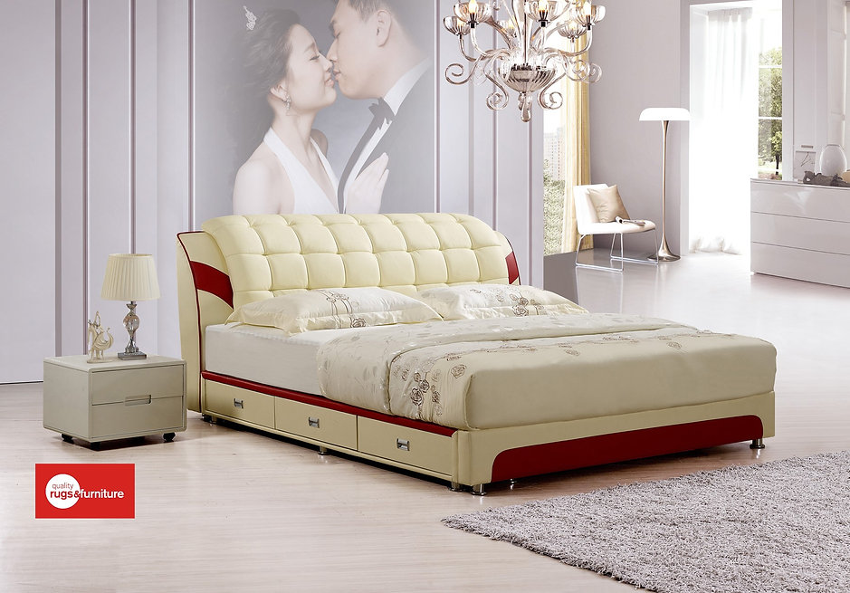Charmant Leather Bed With Draws 45