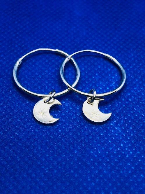Crescent Moon Hoop Earrings