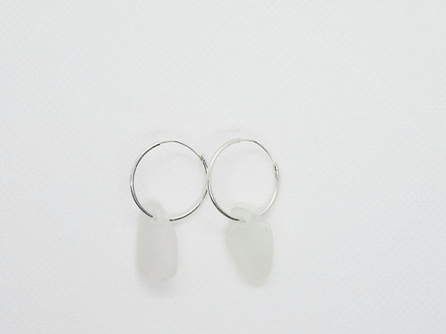Sterling Silver Hoops with Scottish Sea Glass