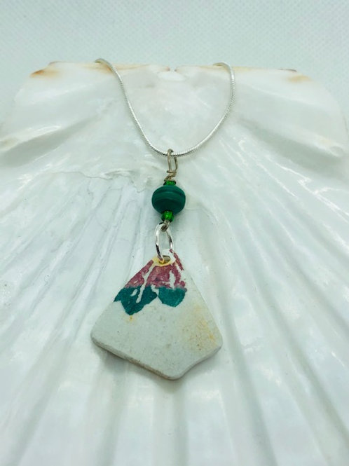 Sterling Silver Sea Pottery Pendant Necklace with Malachite