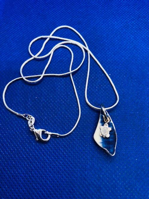Turtle Charm Sea Pottery Pendant Necklace