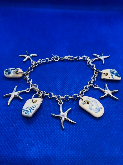 Sterling Silver Sea Pottery and Star Fish Charm Bracelet
