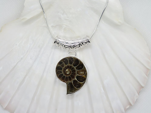 Large Ammonite Silver Necklace