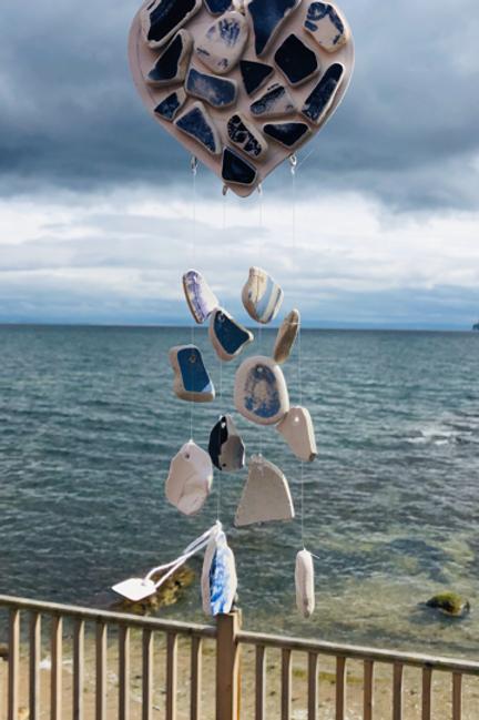 Blue Sea Pottery Long Heart Mobile
