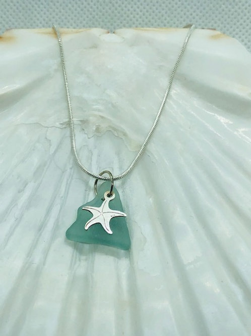Sea Glass Pendant Necklace with Sterling Silver Starfish