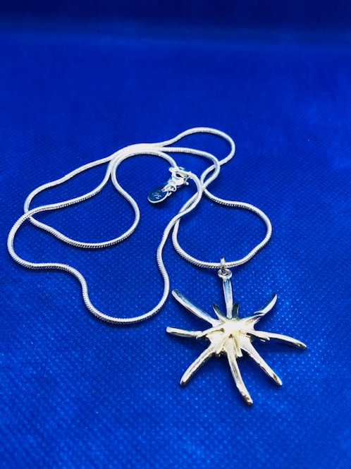 Silver & Gold Star Pendant Necklace