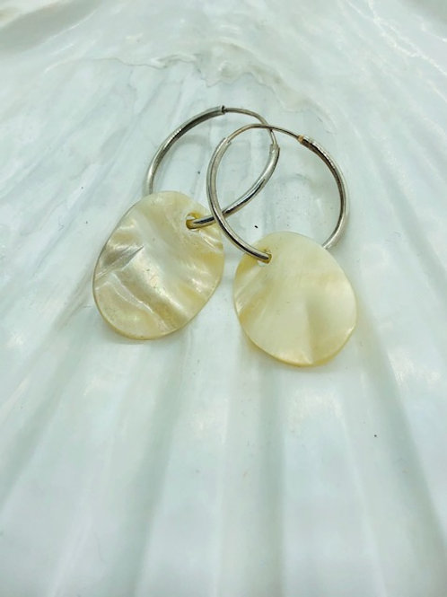 Mother of Pearl Earrings on Sterling Silver Hoops