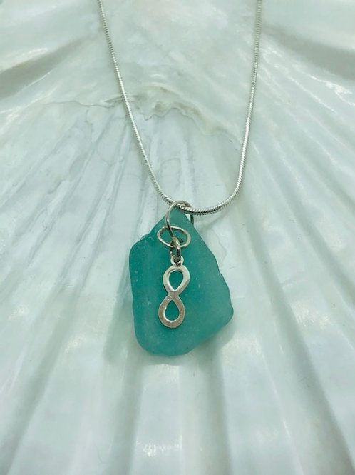Sea Glass Pendant with Sterling Silver Infinity Symbol Charm