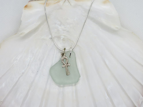 "Scottish Sea Glass Pendant with Sterling Silver Ankh Charm & 20"" Chain"