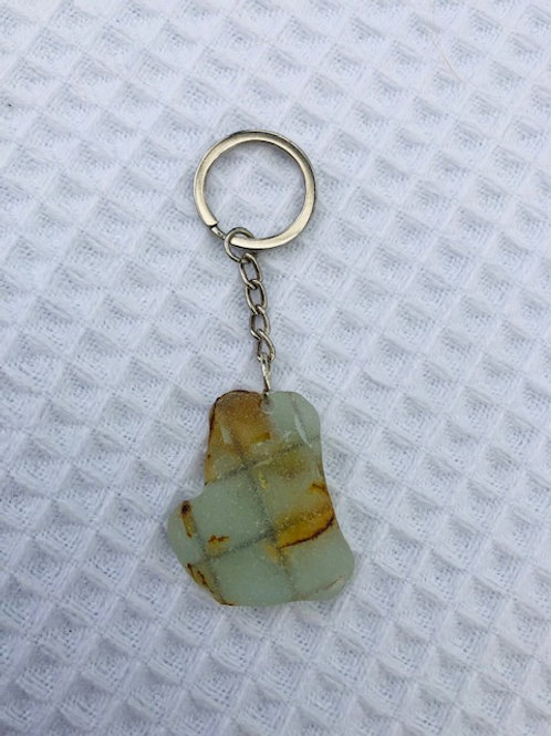 Rare Ancient Sea Glass Pendant Keyring