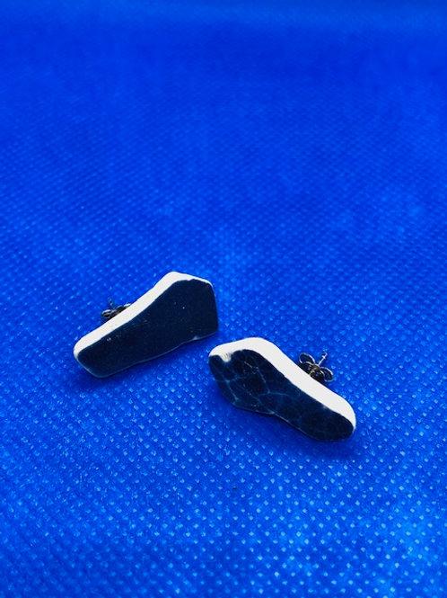 Sea Pottery Stud Earrings Midnight Blue
