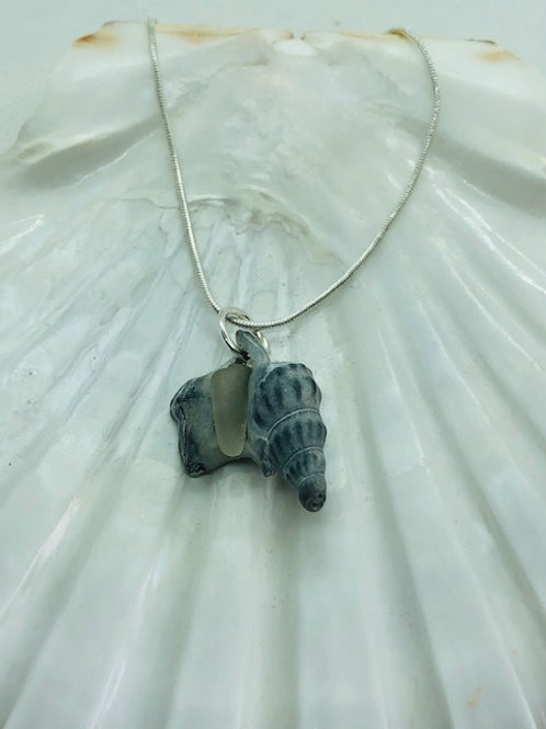 Grey Pelicans Foot Fossil with Sea Glass Pendant Necklace