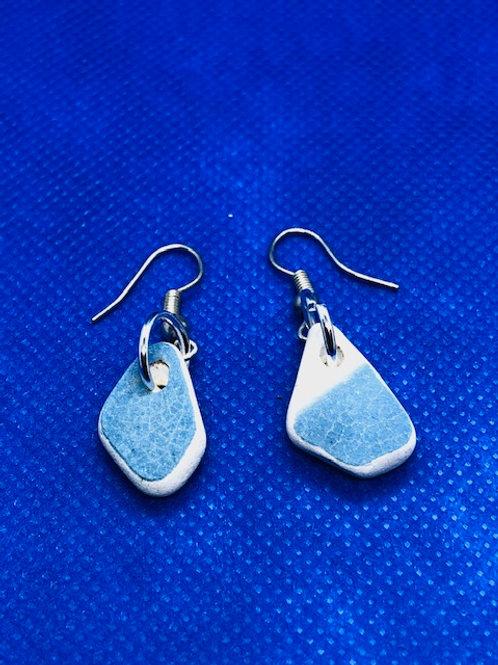 Sterling Silver Sea Pottery Drop Earrings Light Blue