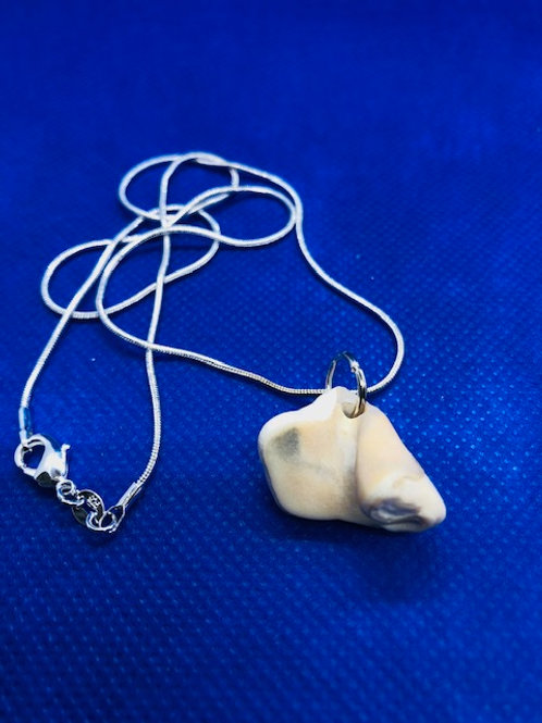 Unique Sea Pottery Pendant Sterling Silver Necklace
