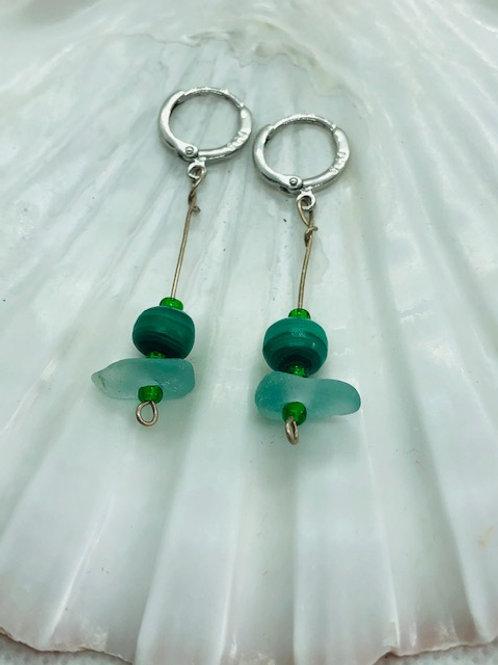 Sterling Silver Sea Glass Drop Hook Earrings with Malachite