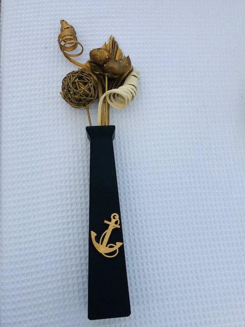 Black Matte Vase with Gold Anchor