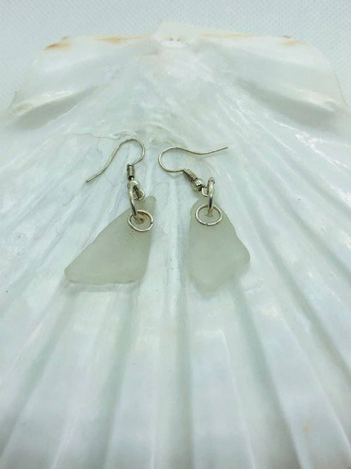 Small Sea Glass Drop Earrings on Sterling Silver Hooks