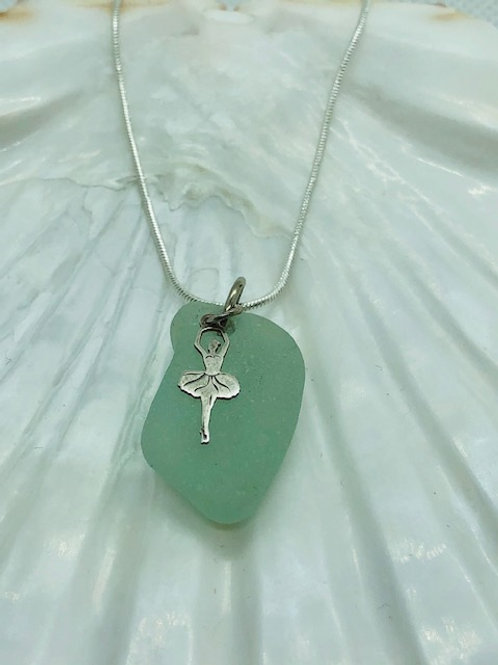 Sea Glass Pendant Necklace with Sterling Silver Ballerina Charm