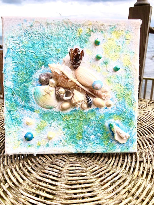 Square Shell & Pearl Wall Art Canvas