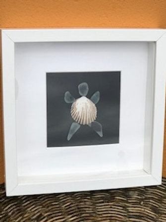 Framed Turtle Picture made with Shells and Seaglass