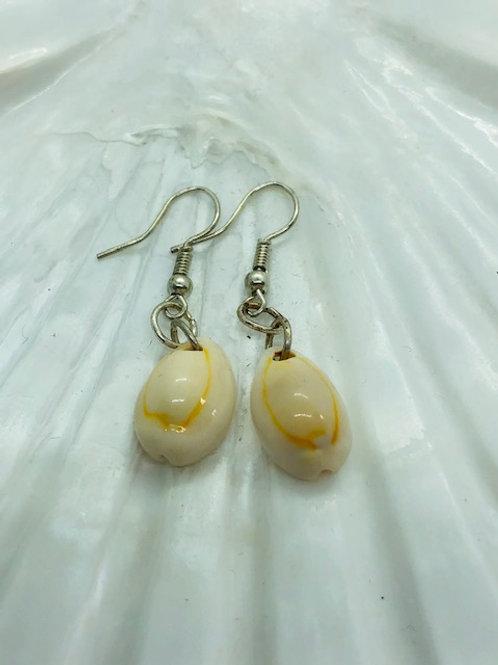 Cowrie Shell Drop Earrings on Sterling Silver Hooks