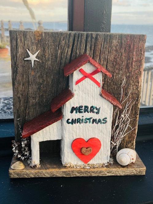 Merry Christmas Driftwood Beach Art