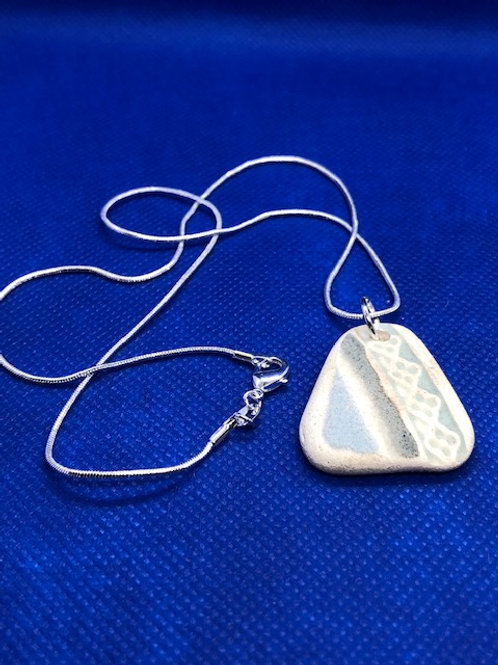 Sterling Silver Necklace with Unique Sea Pottery Pendant
