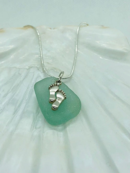 Sea Glass Pendant Necklace with Sterling Silver Feet Charm