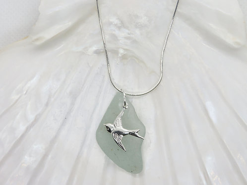 """Scottish Sea Glass Pendant with Sterling Silver Swallow Charm & 20"""" Chain"""
