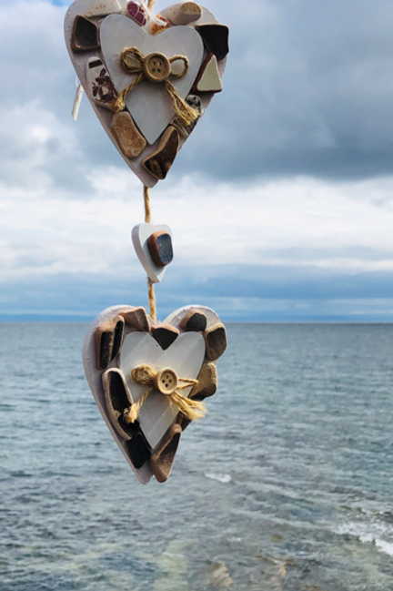 Double Heart Beach Mobile with Brown Sea Pottery