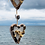 Thumbnail: Double Heart Beach Mobile with Brown Sea Pottery