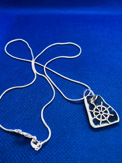 Ships Wheel Sea Pottery Pendant Necklace