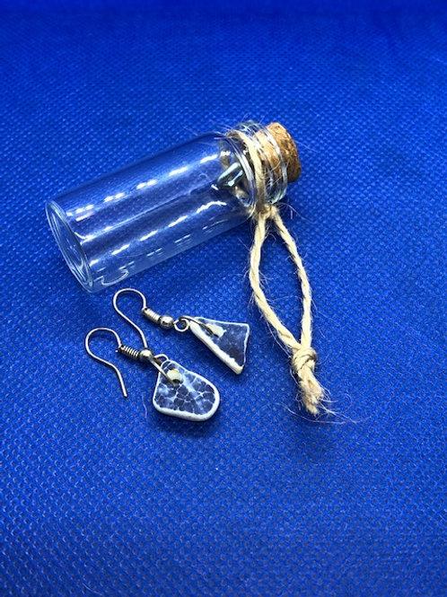 Sea Pottery Earrings in a Bottle